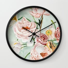 Blue Oval Peonies & Poppies Wall Clock