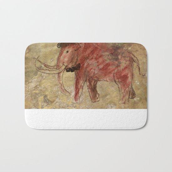 Cave art vintage mamut. Bath Mat