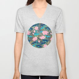 Art Deco Lotus Flowers in Pink & Navy Unisex V-Neck