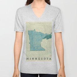 Minnesota State Map Blue Vintage Unisex V-Neck