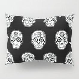 Día de Muertos Calavera • Mexican Sugar Skull – White on Black Palette Pillow Sham