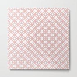 Beige and white interlocking circles Metal Print