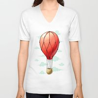 hot air balloon V-neck T-shirts featuring Hot Air Balloon by Freeminds