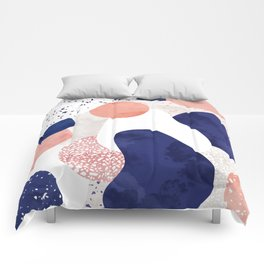 Terrazzo galaxy pink blue white Comforters