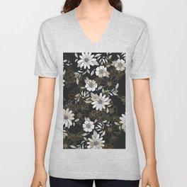 Modern black white faux gold elegant floral Unisex V-Neck