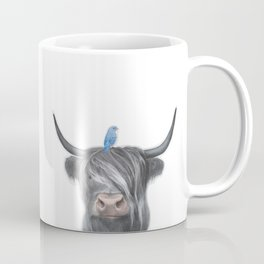 Scottish Cow & Blue Bird Coffee Mug