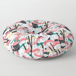 Kawaii Sushi Crowd Floor Pillow