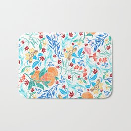 Good Fortune Asian Floral Pattern With Orange Blossoms Bath Mat