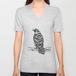 Raven Ink Dawing Unisex V-Neck