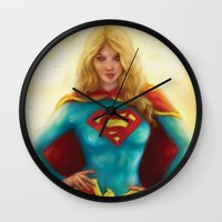 supergirl Wall Clocks featuring Supergirl by SachsIllustration