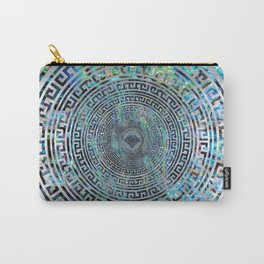 Circular Greek Meander Pattern - Greek Key Ornament Carry-All Pouch
