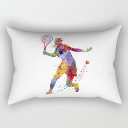 Girl Tennis Forehand Colorful Watercolor Rectangular Pillow