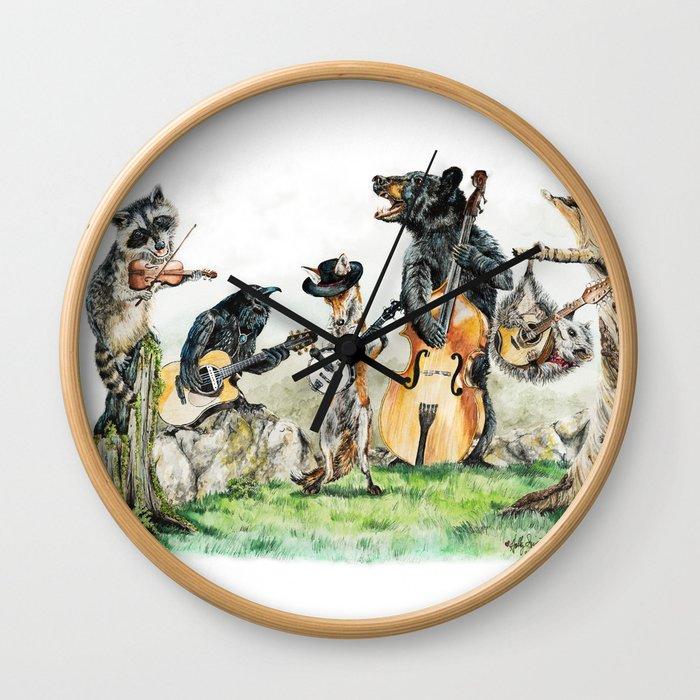 """"""" Bluegrass Gang """" wild animal music band Wall Clock"""