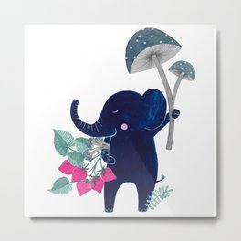 blue elephant with mushrooms & strawberries watercolor illustration Metal Print