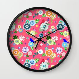 Whimsical Flowers & Birds in Red Wall Clock