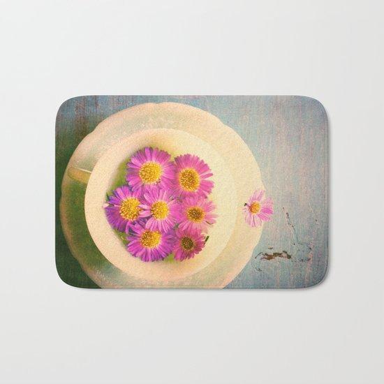 Spring Flowers on Vintage Table Bath Mat