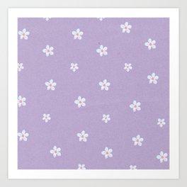 Modern lavender teal pink hand painted floral Art Print