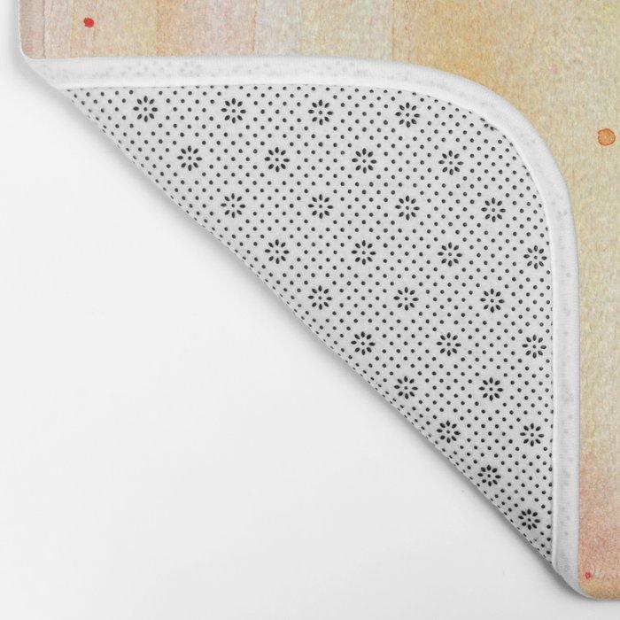 Pink Orange Rain Watercolor Texture Splatters Bath Mat