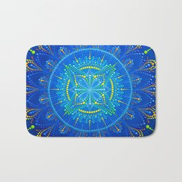 Blue mandala painting on canvas Bath Mat