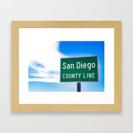 Closeup of the San Diego County Line Sign against a Blue Sky in the Anza Borrego Desert State Park Framed Art Print