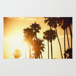 palm on venice at sunset Rug