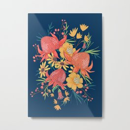 Australian Florals on Blue Metal Print