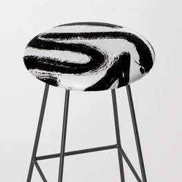 Black and White Abstract Pattern 1: A minimal black and white pattern by Alyssa Hamilton Art Bar Stool
