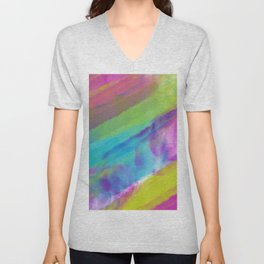 cold green and blue watercolor abstract Unisex V-Neck