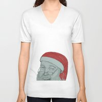 santa V-neck T-shirts featuring Santa by unicorned