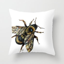 Realistic Bumble Bee Drawing Throw Pillow
