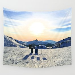 The snow, signs, shadows, sun, sky - and the surrounding! Wall Tapestry
