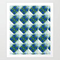 Diamond flowers Blue Art Print