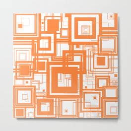 Mid Century Modern Muted Orange 1970s Style Retro Geometric Squares Metal Print