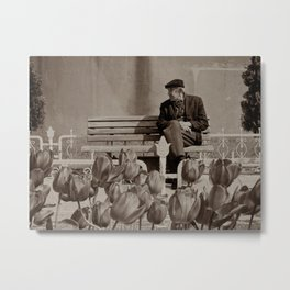 "Old man outside Sultan Ahmed Mosque (""Blue Mosque"", Istanbul, TURKEY) Metal Print"