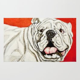 Uga the Bulldog Painting - Red Background Rug