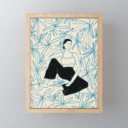 WOMAN IN A FIELD OF FLOWERS Framed Mini Art Print