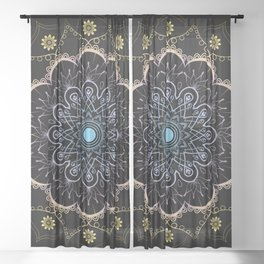 Contrast mandala Sheer Curtain