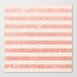 Rose Gold and Glitter Stripes Canvas Print