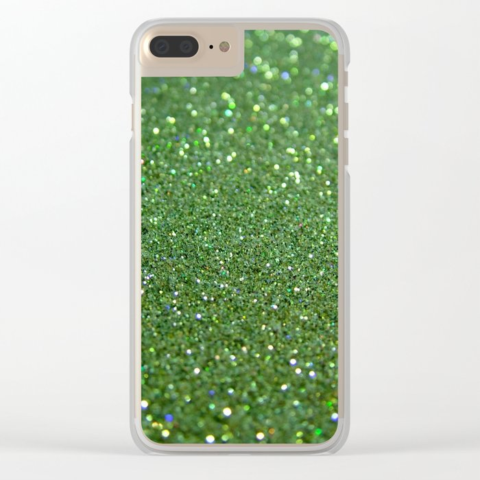 Green sparkle glitter effect background for girlies on #Society6 Clear iPhone Case