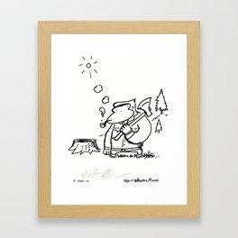 Lumberjack Ape with Pipe Framed Art Print