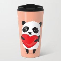 Panda love. Cute cartoon illustration Metal Travel Mug
