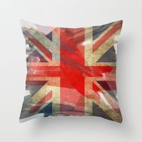 union jack Throw Pillows featuring Union Jack by Honeydripp Designs
