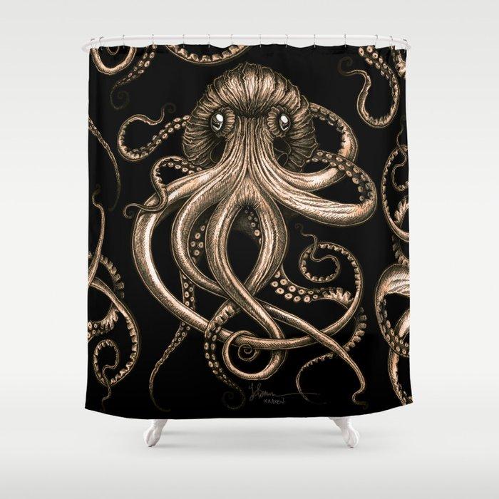 Bronze Kraken Shower Curtain By Taojb