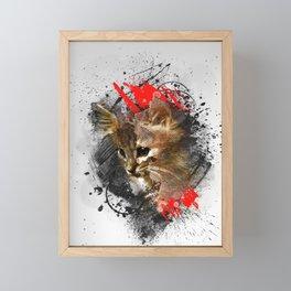 Kitten - abstract animal poster Framed Mini Art Print