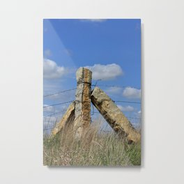 Kansas Corner Stone Post fence with blue sky and white clouds  Metal Print