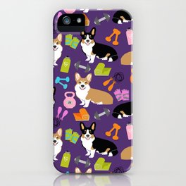 Corgi Fitness design cute corgis and workout gear ladies fitness blanket leggings cute dogs iPhone Case