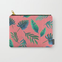 Coral tropical palm leaves Carry-All Pouch