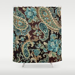 Brown Turquoise Paisley Shower Curtain
