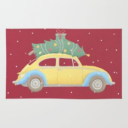 Vintage Car Christmas Tree on the Roof Rug