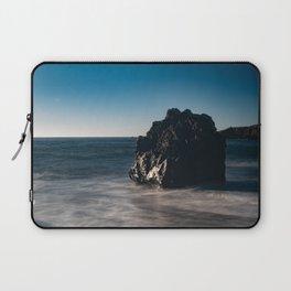 Long Exposture of water around rock in Bodega Bay Laptop Sleeve